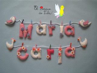 nombre-fieltro-Carla-María-elbosquedelulu-hechoamanoparati-decoración-infantil-personalizado-name-banner-regalo-nacimiento