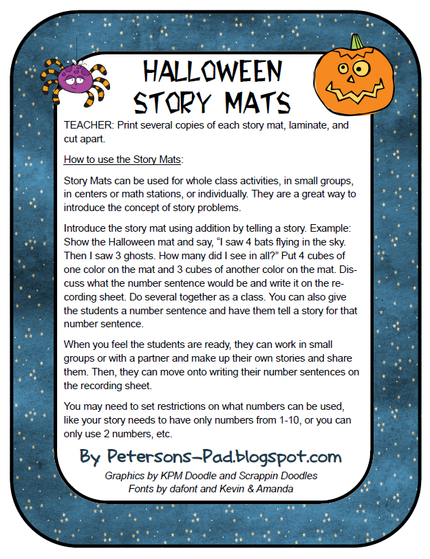 petersons pad halloween story mat freebie - Story About Halloween