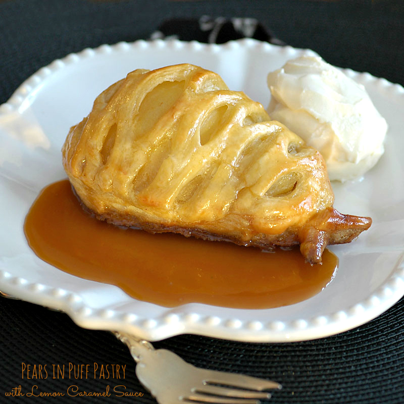 Puff Pastry Pears with Caramel Sauce