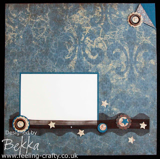 Fab Scrapbook Page by Bekka www.feeling-crafty.co.uk Love the collection of embellishments along the bottom