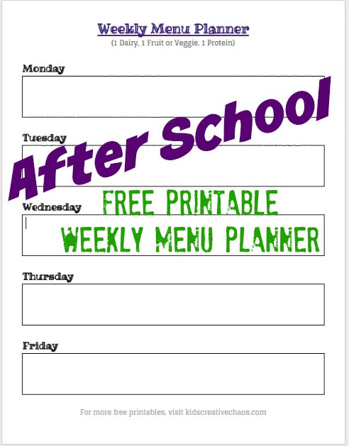 Free Printable After School Snack Ideas: Weekly Menu Planning