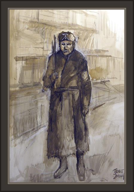 RUSIA-DIVISION AZUL-SOLDADOS-BLAU-PINTURA-ARTE-SEGUNDA GUERRA MUNDIAL-PINTOR-ERNEST DESCALS-