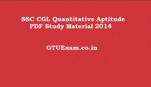 SSC CGL Quantitative Aptitude PDF Study Material