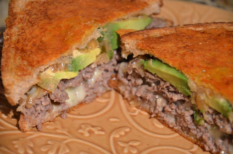 ... Corner: Spicy Cheddar Crusted Avocado Patty Melt with Chipotle Mayo