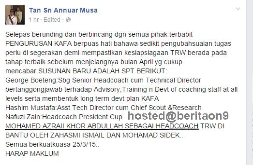 Jurulatih Baru Kelantan Azraai Khor Jurulatih Baru