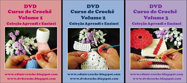 curso de croche dvd 3 volumes basico para iniciantes na loja curso de croche frete gratis