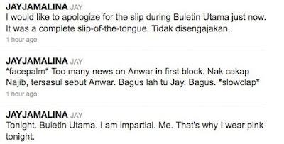 Jay Jamalina Pembaca Berita TV3  Mohon Maaf Insiden Tersasul