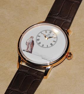 Montre Jaquet Droz Petite Heure Minute - Peinture sur émail cadran Faucon