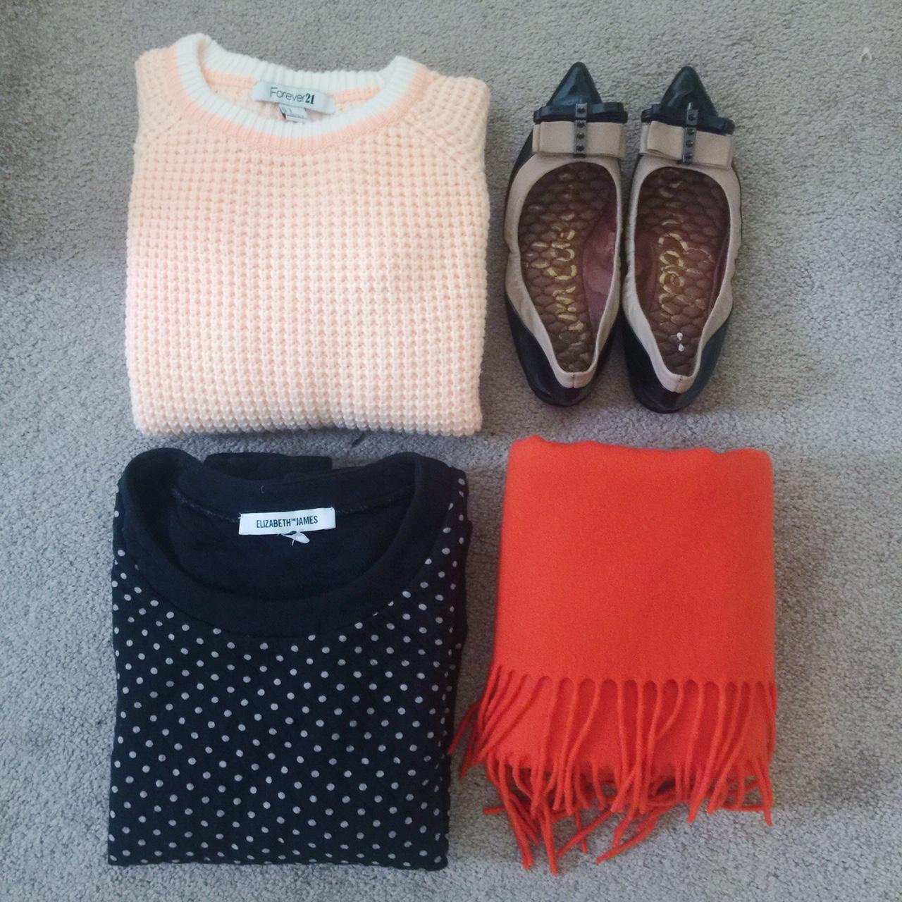 forever 21, thrift haul, october 2015, red, white, and blue thrift store, donna karan, orange scarf, orange sweater, polka dot sweater, elizabeth and james, Sam Edelman, portland blogger
