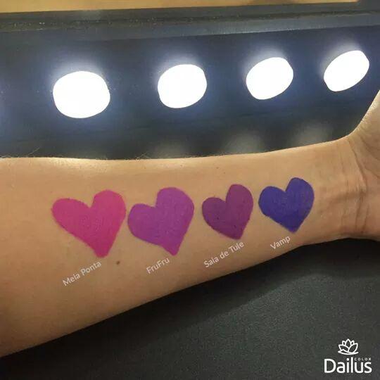 comparação de cores batons Dailus