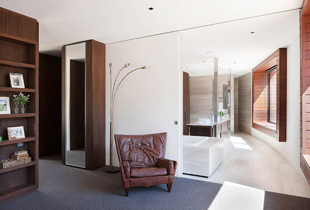 Unique Floor Lamp Completing Piermont Bedroom Interior with Wall to Wall Carpet