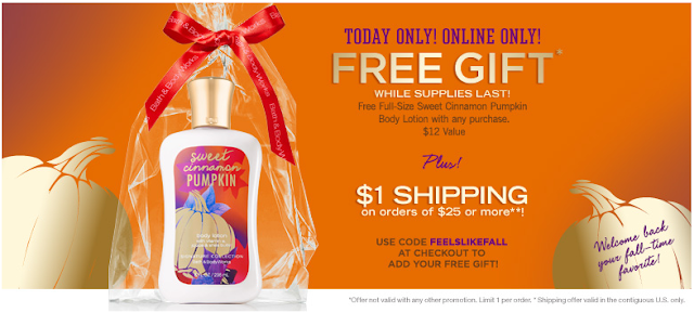 free full size cinnamon pumpkin lotion at bath and body works