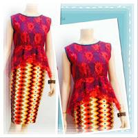 Baju Kebaya Broklat Motif Batik Rang Rang Merah