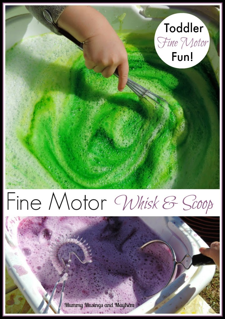 Toddler Fine Motor fun with whisks and sieves - an easy activity to strengthen those fine motor muscles and control. Find out more on Mummy Musings and Mayhem