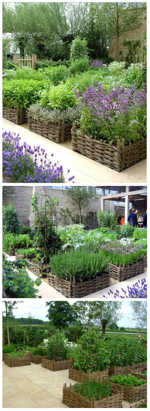 Raised beds with beautiful basket weave borders for Beautiful raised gardens