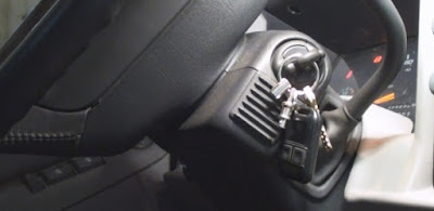 close up of key switch for car