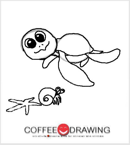 how to draw a leatherback sea turtle step by step