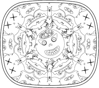 Crazed candy pumpkin on Halloween night in Escher-inspired image for a coloring book by Bindlegrim
