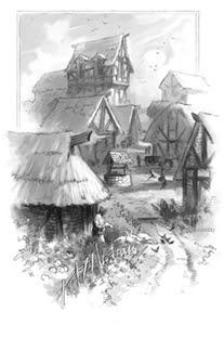 Village scene by Todd Lockwood