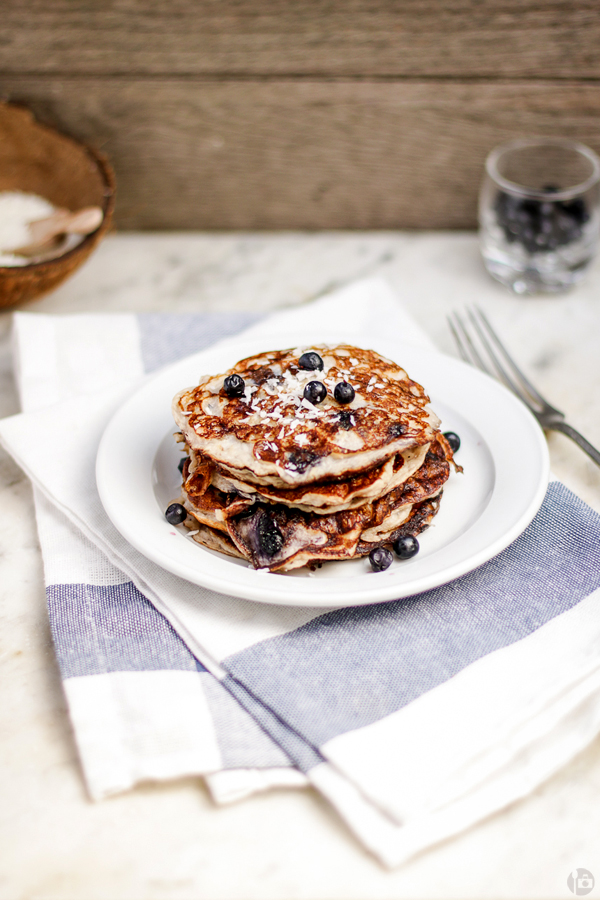 Banana Coconut Pancakes with Cottage Cheese and Blueberries