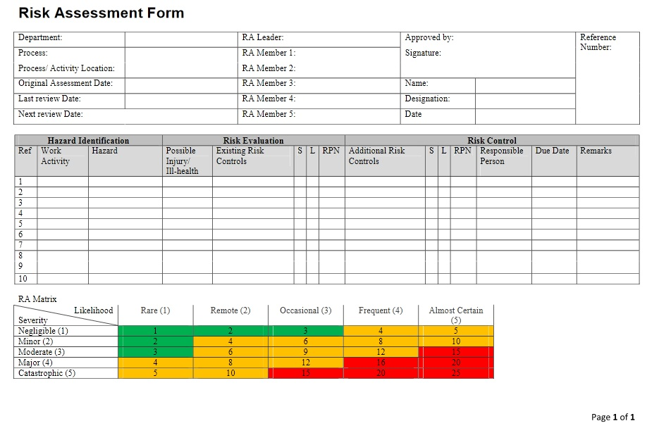 Risk Assessment Form Sample  Sample Assessment Forms  Free