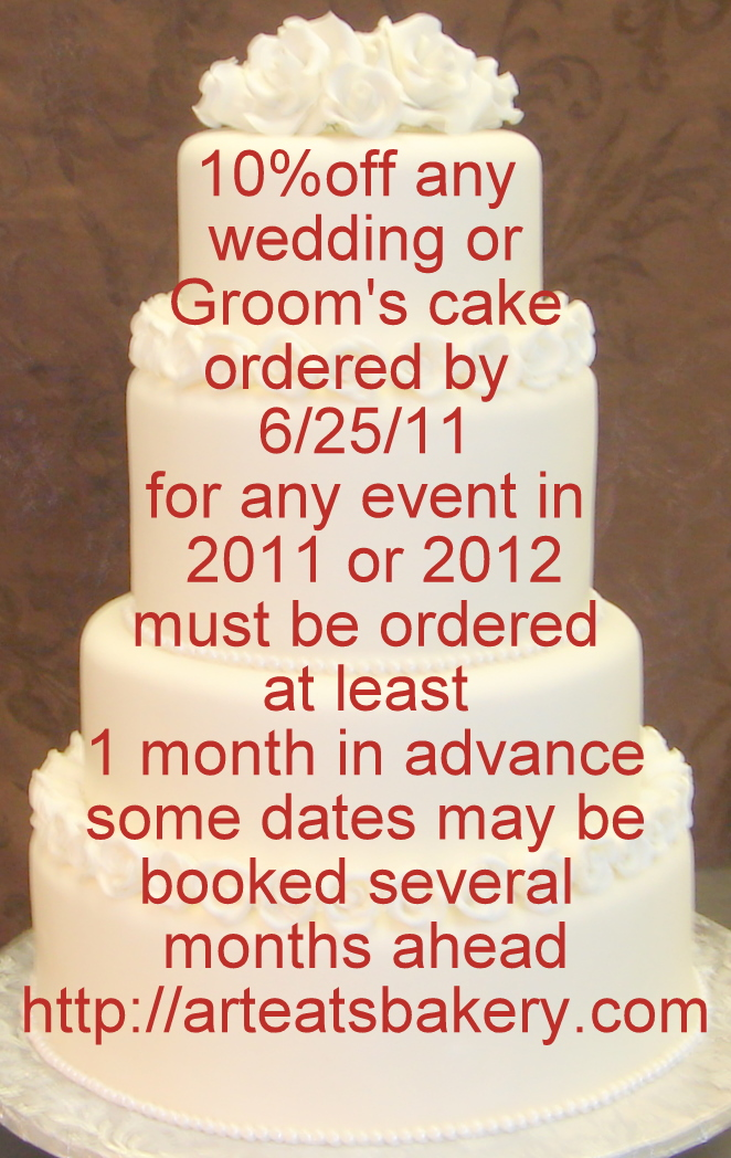 10% Discount Coupon For A Custom Designed Wedding Or Groomu0027s Cake