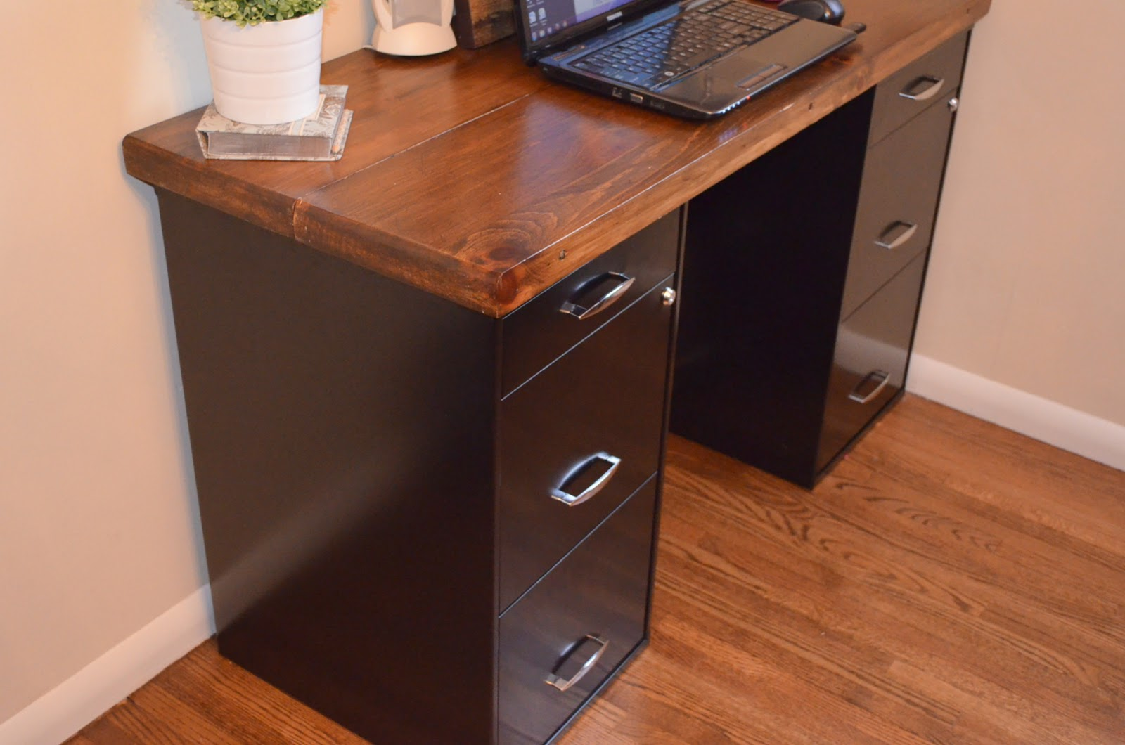 using file cabinets for desk