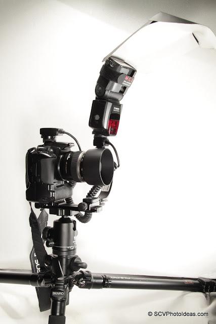 Meike OE-C3 Off-Camera Shoe Cord + Economy macro Flash Bracket setup