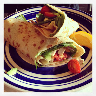 Vegan Crêpe (Old Woodward - pan seared tofu, red onion, avocado, tomatoes, spinach)