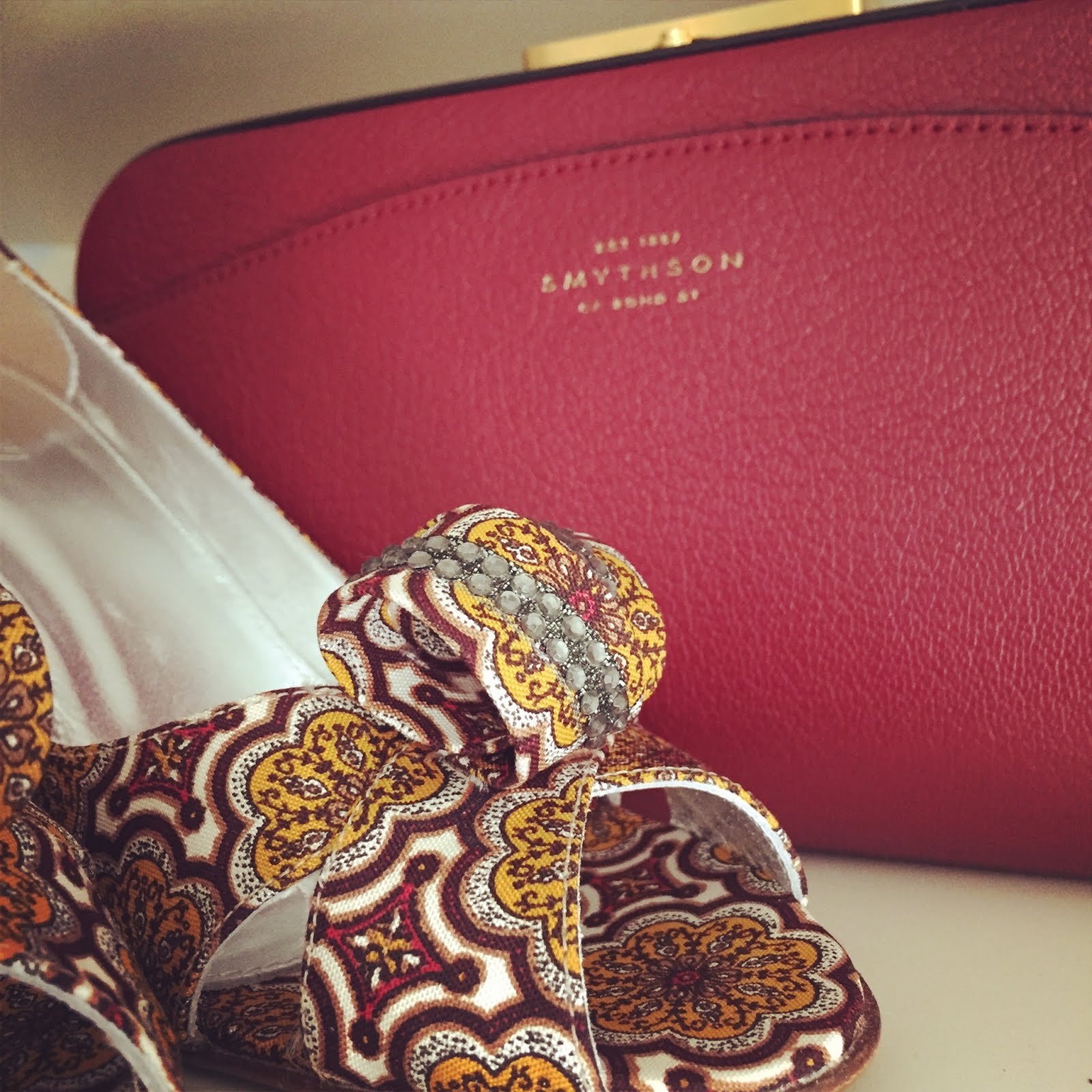 Patterned Heels and a Colourful Clutch