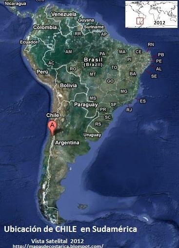 Ubicación de CHILE en Sudamérica, Vista Satelital