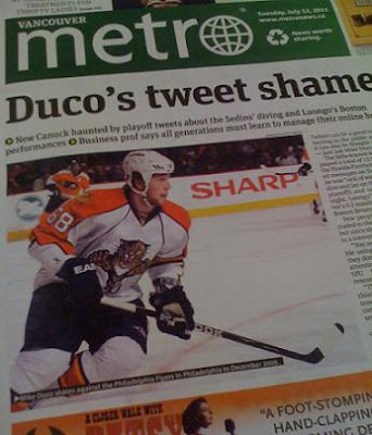 Mike Duco landed on the front page of the Vancouver Metro before ever playing a game with the Canucks.