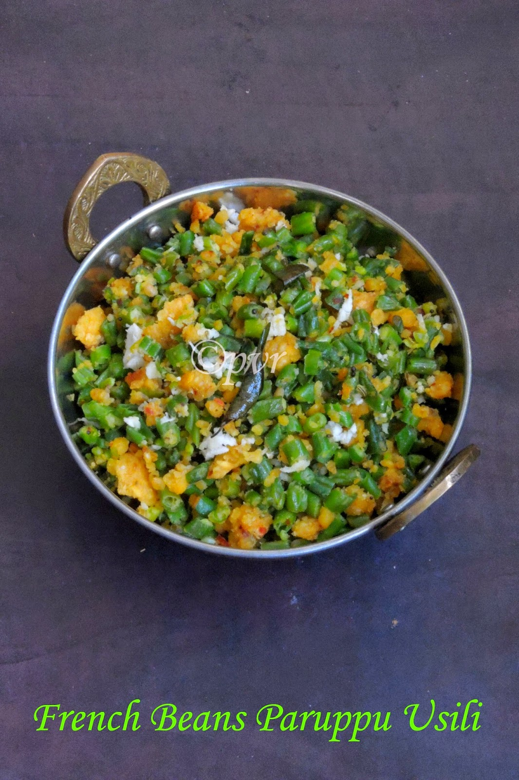 French beans paruppu usili, Green beans Dal Stirfry