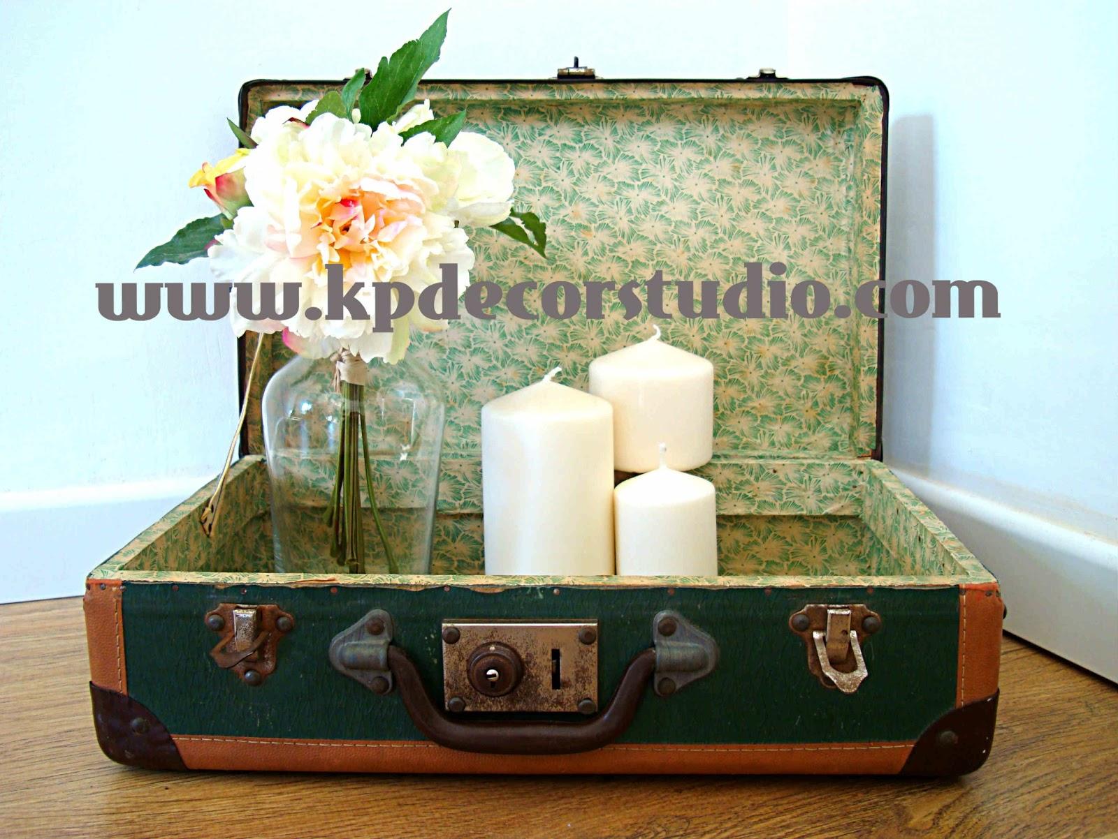 Kp tienda vintage online maleta antigua color verde a os for Maletas vintage decoracion