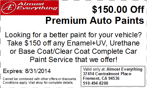 Discount Coupon Almost Everything $150 Off Premium Auto Paint Sale August 2014