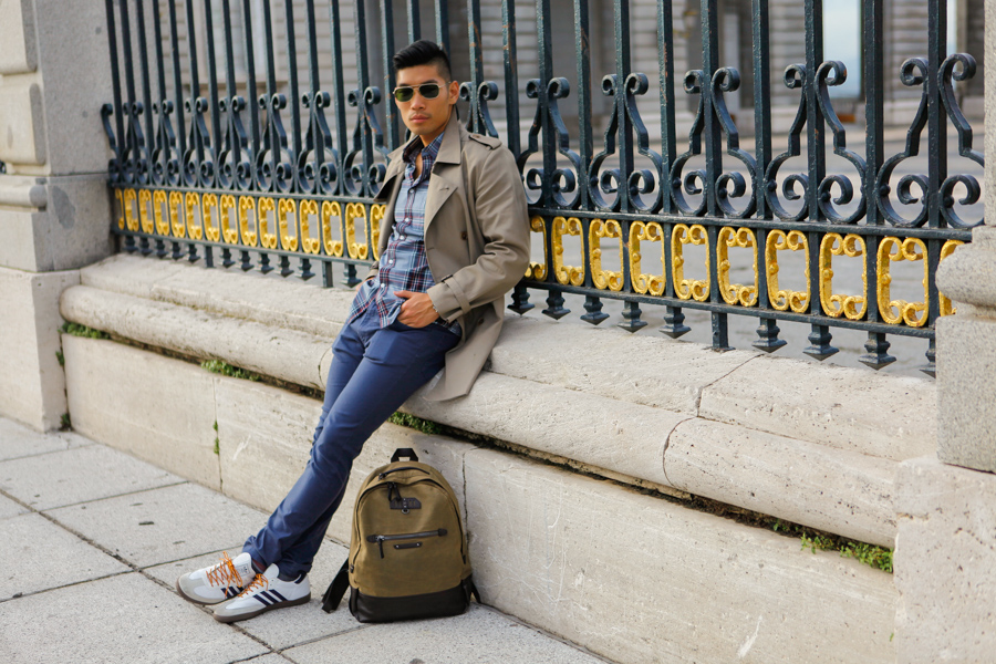 Levitate Style, Travel, Madrid, Spain, Fall, Menswear, Leo Chan, Alicia Mara, Plaza Mayor, Trench Coat, Madrid Royal Palace