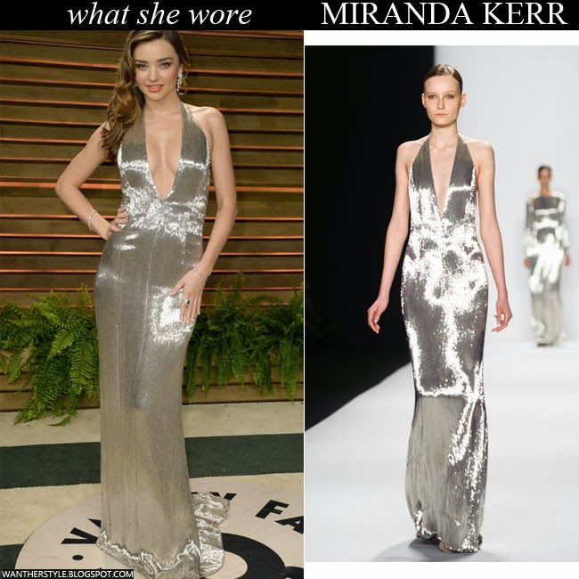 Miranda Kerr in silver Kaufmanfranco gown Vanity Fair Oscar Party 2014 Want Her Style