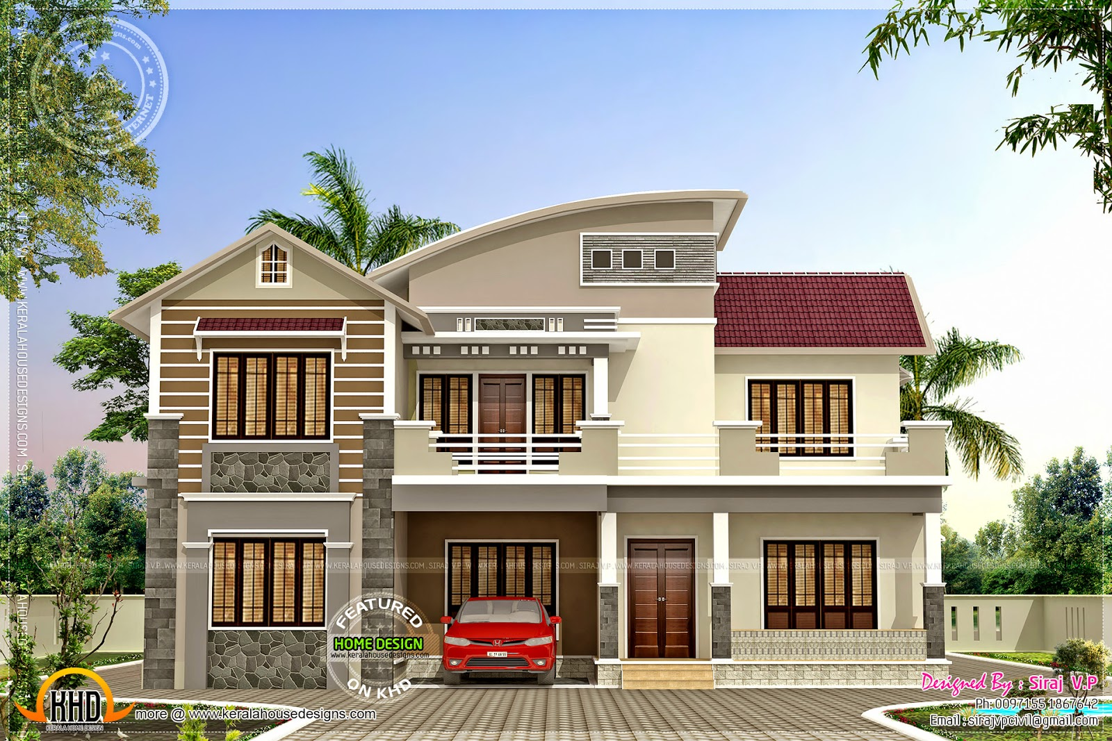 Beautiful little double storied house keralahousedesigns for Modern house plans 2400 sq ft