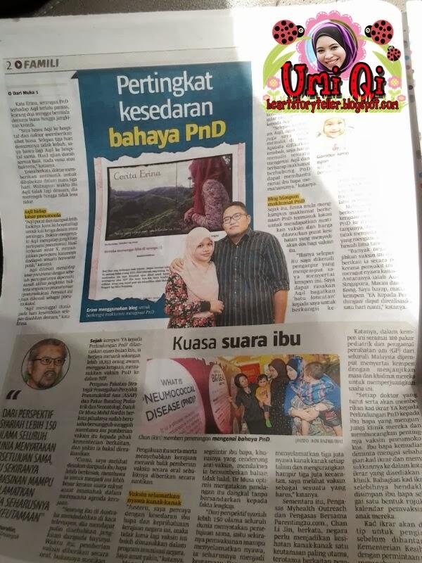 Berita Harian 28 Nov 2013: Umi Qi join Kempen YES Vaksin Pneumococcal