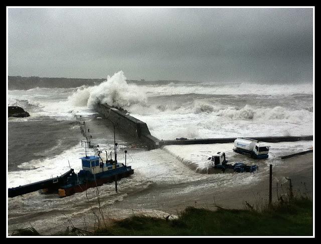storm, harbour, stormy weather, sea, ocean