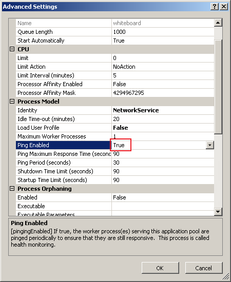 Ping Enable property of Application pool in IIS