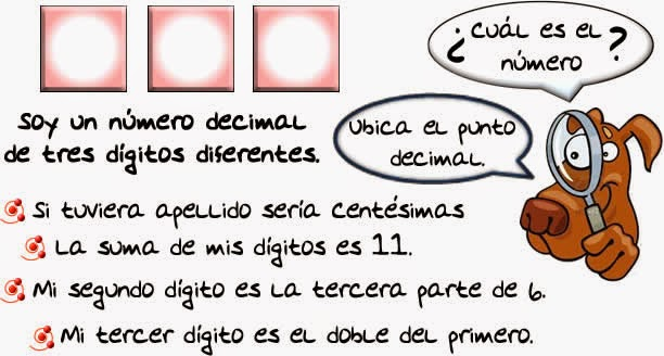 Reto matemático, Desafío matemático, Problema matemático, Decimales, Descubre el número, Problemas para pensar