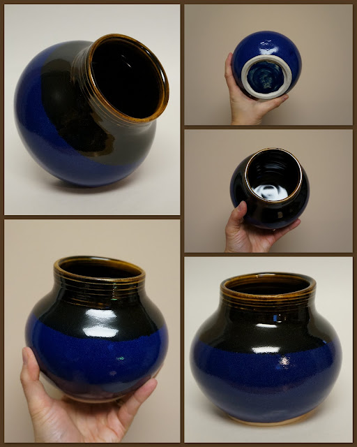 Ceramic vase in Amber Celadon and Deep Blue, by Lily L.