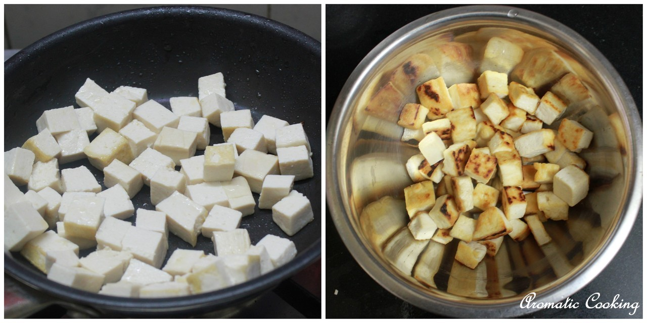 Saute the cubed tofu in a little oil, till it turns golden brown.