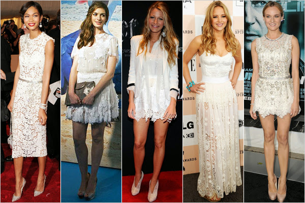 celebrities in white lace