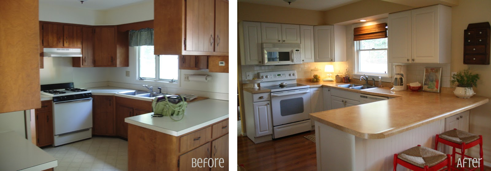 Graphic made kitchen before after - Remodeling a small kitchen before and after ...