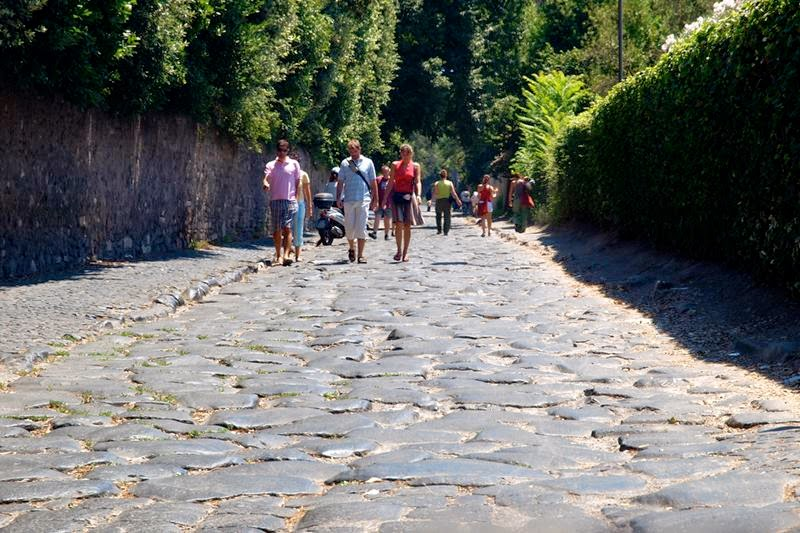 Walking along the original Appian Way.