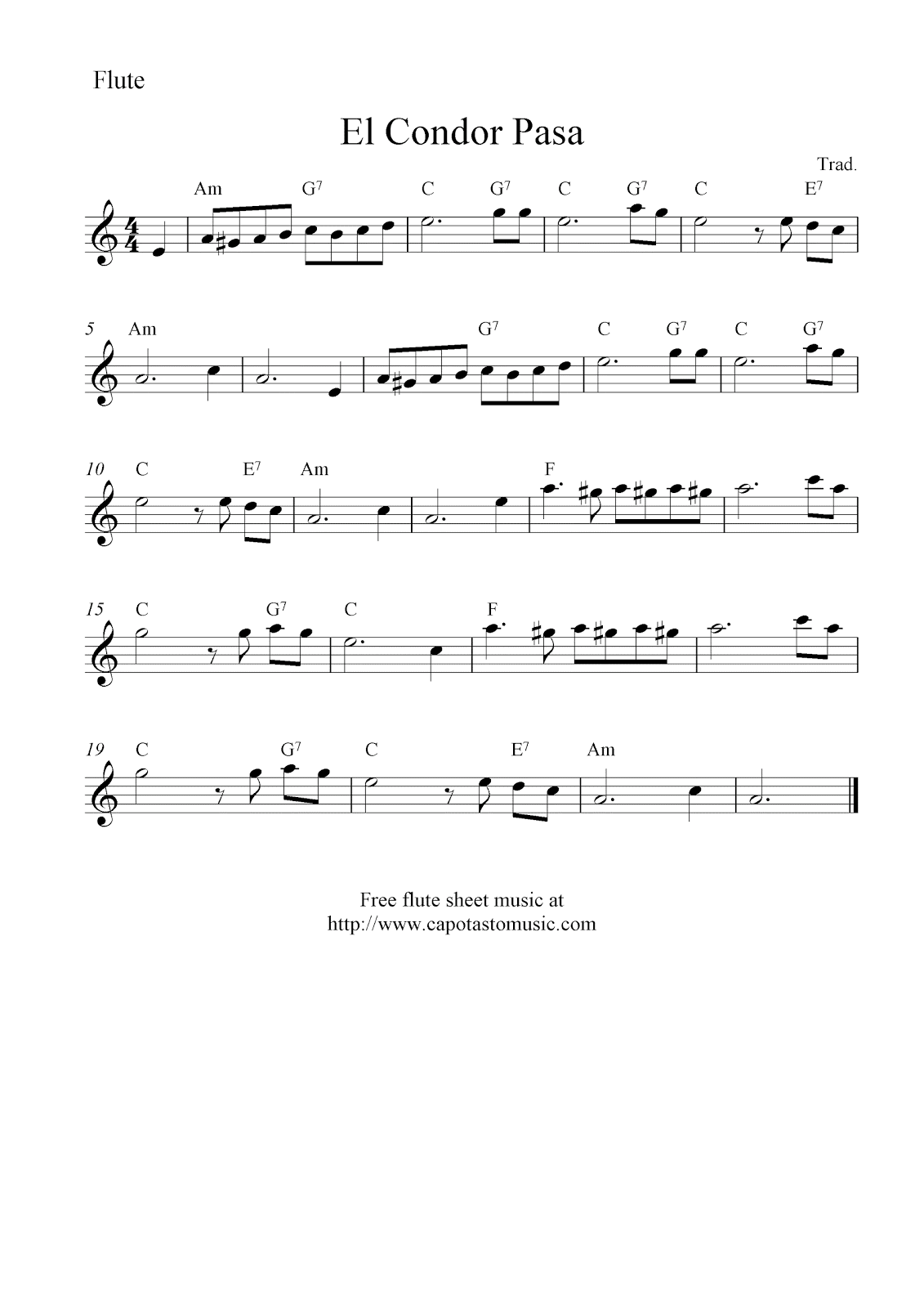 El condor pasa free flute sheet music notes