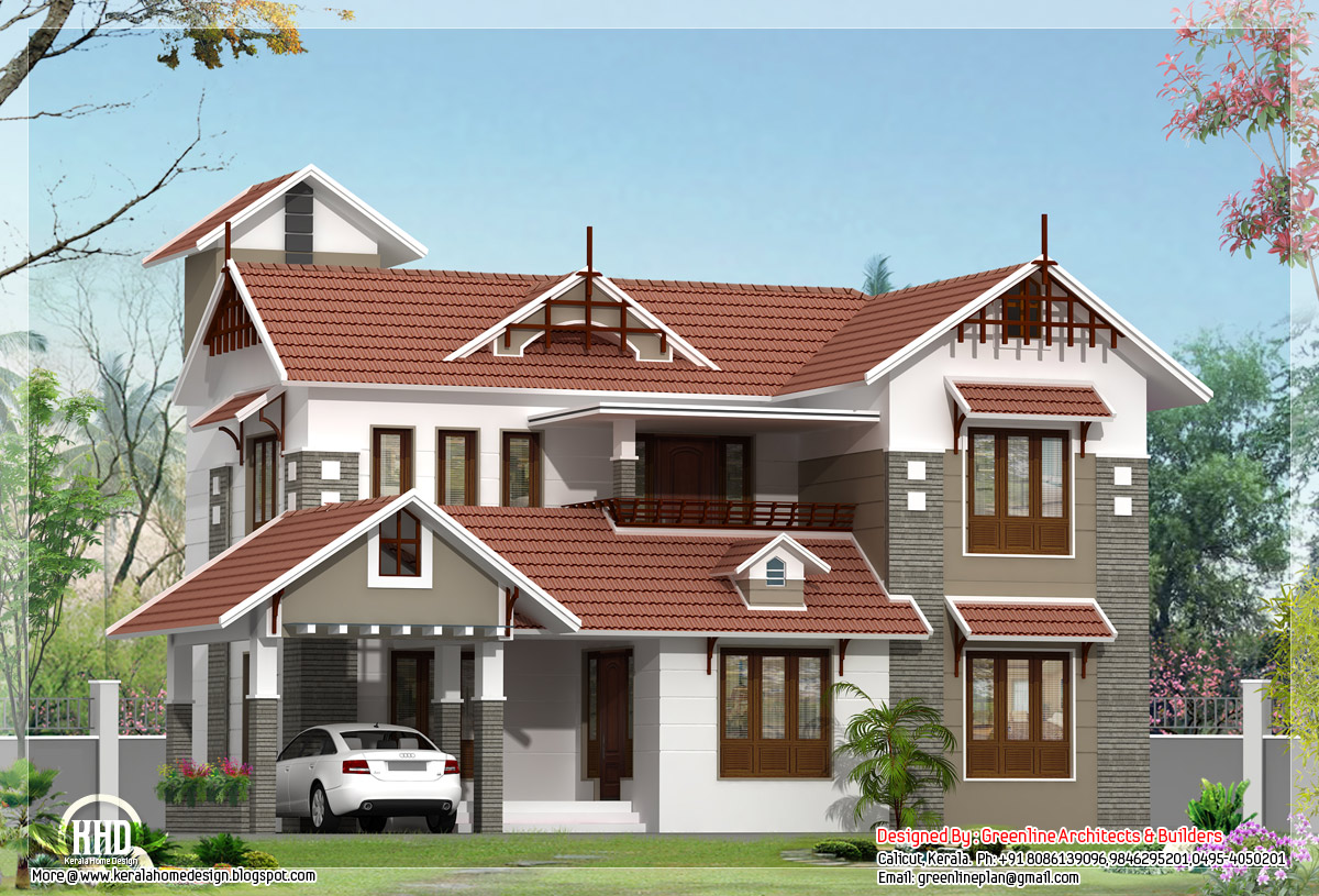 bedroom Kerala house plan in 2180 sq.feet