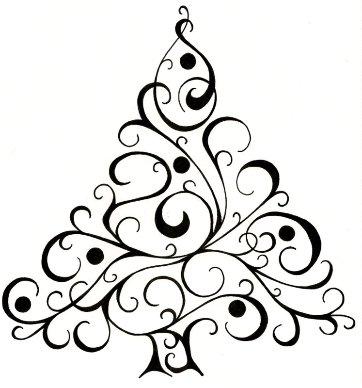 Line Art Card Design : Zentangle rustgevend tekenen kerstbomen